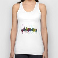 north carolina Tank Tops featuring Charlotte, North Carolina Skyline by Marlene Watson
