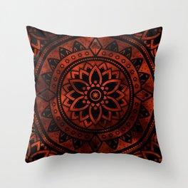 Burnt Orange & Black Patterned Flower Mandala Throw Pillow