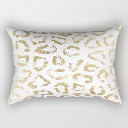 Modern white chic faux gold foil leopard print Rectangular Pillow