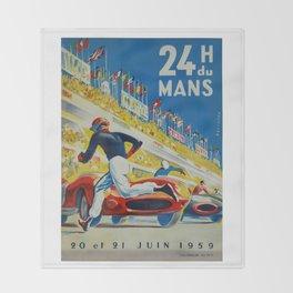 24hs Le Mans, 1959, vintage poster Throw Blanket