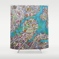 boston map Shower Curtains featuring imaginary map of boston  by Federico Cortese