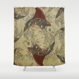 ying and yang shark fin goldfish Shower Curtain