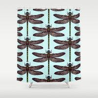 dragonfly Shower Curtains featuring dragonfly by Sharon Turner