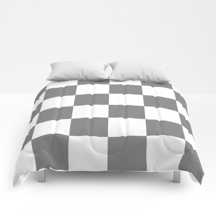 Large Checkered - White and Gray Comforters