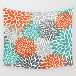 Floral Pattern, Abstract, Orange, Teal and Gray Wall Tapestry