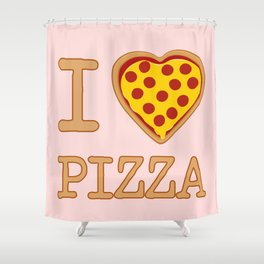 I Heart Pizza Shower Curtain