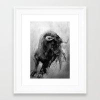 bull Framed Art Prints featuring BULL by MikakoskArts