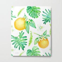 Citrus Tropics - White Metal Print