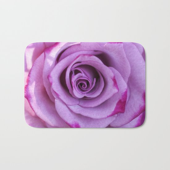Heart of a rose I - Pink and purple Roses flowers Bath Mat
