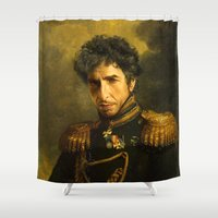 dylan Shower Curtains featuring Bob Dylan - replaceface by replaceface