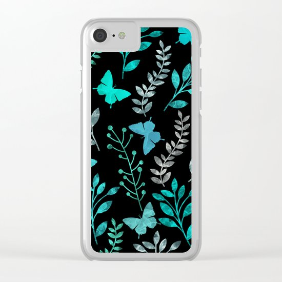 Watercolor flowers & butterflies IV Clear iPhone Case