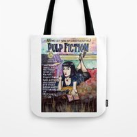 pulp fiction Tote Bags featuring Pulp Fiction by Jessis Kunstpunkt.
