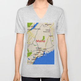 Map of Maine state, USA Unisex V-Neck