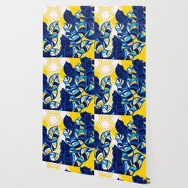 Geo Pop Foliage on Yellow & White Wallpaper