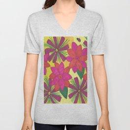 Bohemian Floral Garden Print Unisex V-Neck