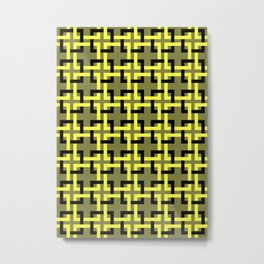 Woven Squares mosaic olive and yellow Metal Print