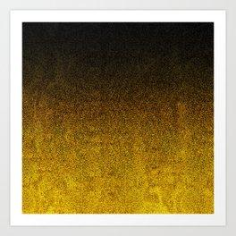 Yellow & Black Glitter Gradient Art Print