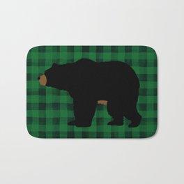 Black Bear - Green Plaid Bath Mat