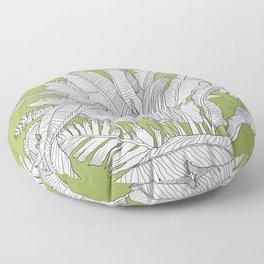 Banana Leaves Illustration - Green Floor Pillow
