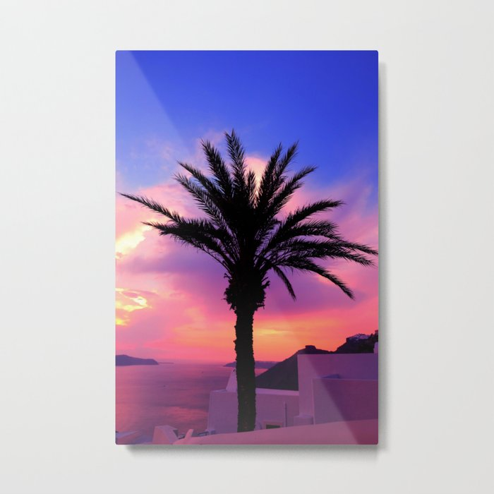 Sunset Palm tree i Metal Print