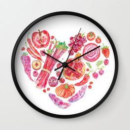 Fruit of Love Valentines Heart Wall Clock