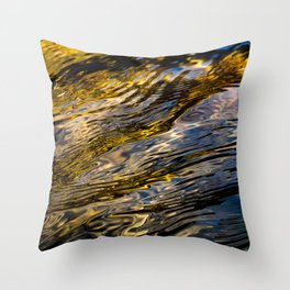 River Ripples in Copper Gold and Brown Throw Pillow