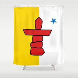 Flag of Nunavut - High quality authentic version Shower Curtain