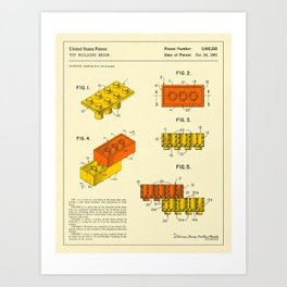 BUILDING BRICKS Patent (1961) Reproduction Art Print