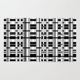 Plaid in Black, White and Gray Rug