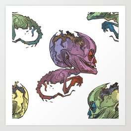 elderly waterhead fetus zombie Art Print