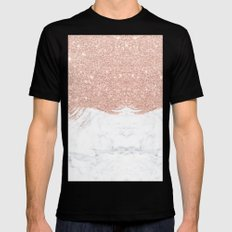 Trendy modern faux glitter rose gold brushstrokes white marble  MEDIUM Mens Fitted Tee Black