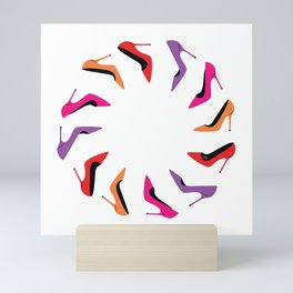 Colorful high heel shoes graphic illustration Mini Art Print