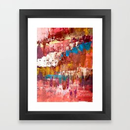 Desert Sun [5]: A bright, bold, colorful abstract piece in warm gold, red, yellow, purple and blue Framed Art Print