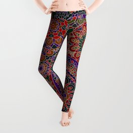 Retro 1960's Paisley Pattern in Vibrant Red Leggings
