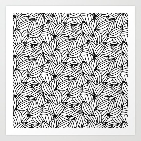 Abstract Lines Pattern Design 2 - Leaf Art Print