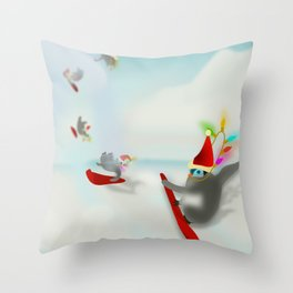 Snow Surfin' Baby Penquines Throw Pillow