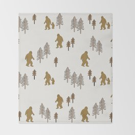 Sasquatch forest woodland mythic animal nature pattern cute kids design forest Throw Blanket