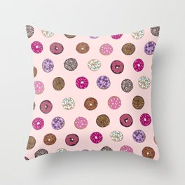 Artsy Pink Sprinkle Donuts Watercolor Pattern Throw Pillow