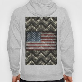 Beige White Digital Camo Chevrons with American Flag Hoody