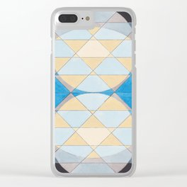 Triangle Pattern No. 14 Circles in Black, Blue and Yellow Clear iPhone Case