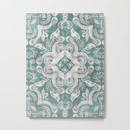 Teal and grey dirty denim textured boho pattern Metal Print