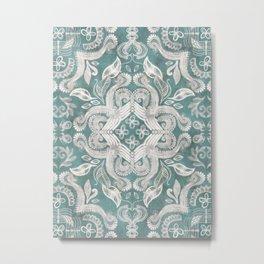 Teal and grey dirty denim textured boho pattern Metal Print
