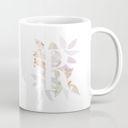 Rustic Initial R - Watercolor Letter Branches and Leaves Monogram Coffee Mug