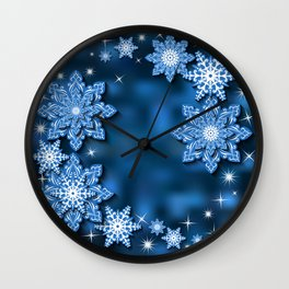 Snowflake background Wall Clock