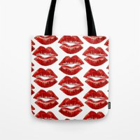 lip Tote Bags featuring Lip Lines by Regan's World