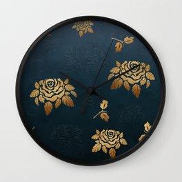 Golden Rose - Glitter Pattern Wall Clock