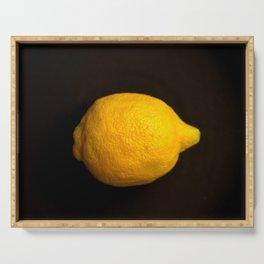 Yellow Lemon On A Black Background #decor #society6 Serving Tray