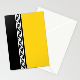 Greek Key 2 - Yellow and Black Stationery Cards