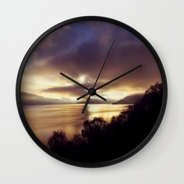 Loch Ness Sunset Wall Clock
