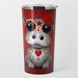 Red Day of the Dead Sugar Skull Hippo Baby Travel Mug